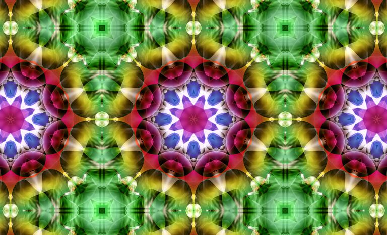 Abstract floral pattern, kaleidoscope effect.