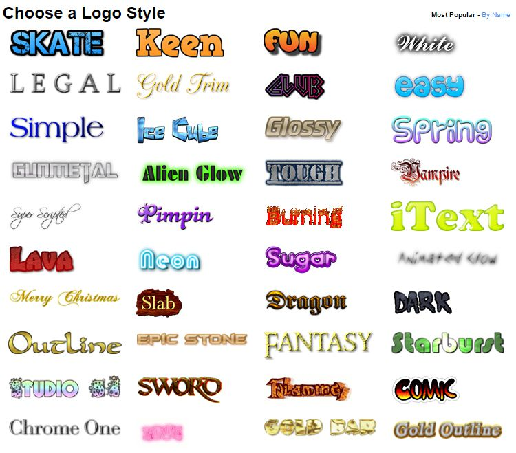 Some of the logo styles available at Cool Text free logo maker