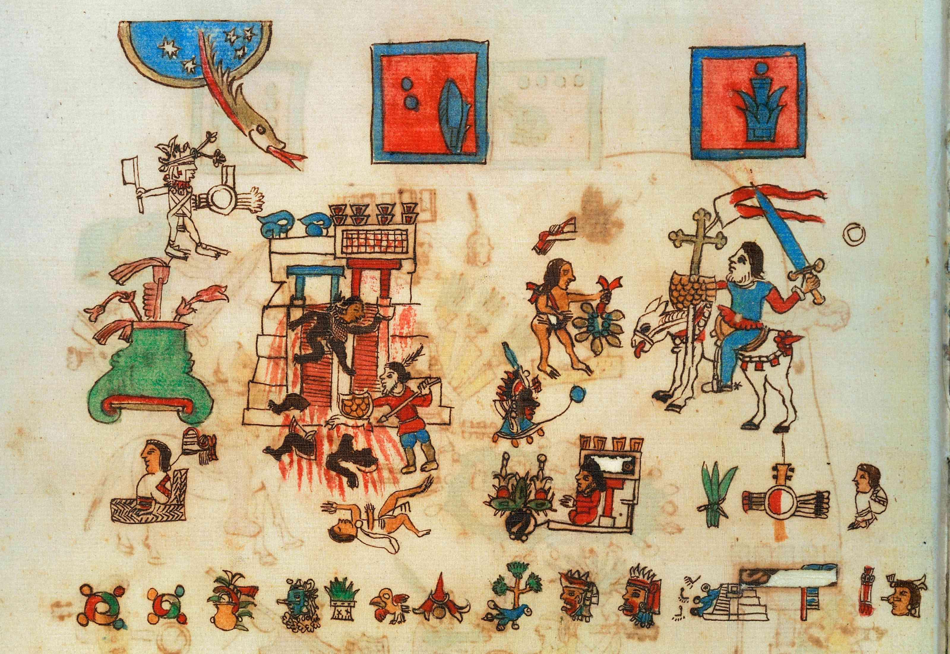 Hernan Cortes on horseback from the Manuscript Vaticanus A 3738 or Codex Rios, folio 87 recto, Mexico, Aztec civilizatio