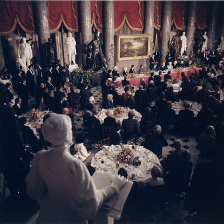 President Ronald Reagan is shown speaking at his inaugural luncheon in the U.S. Capitol.