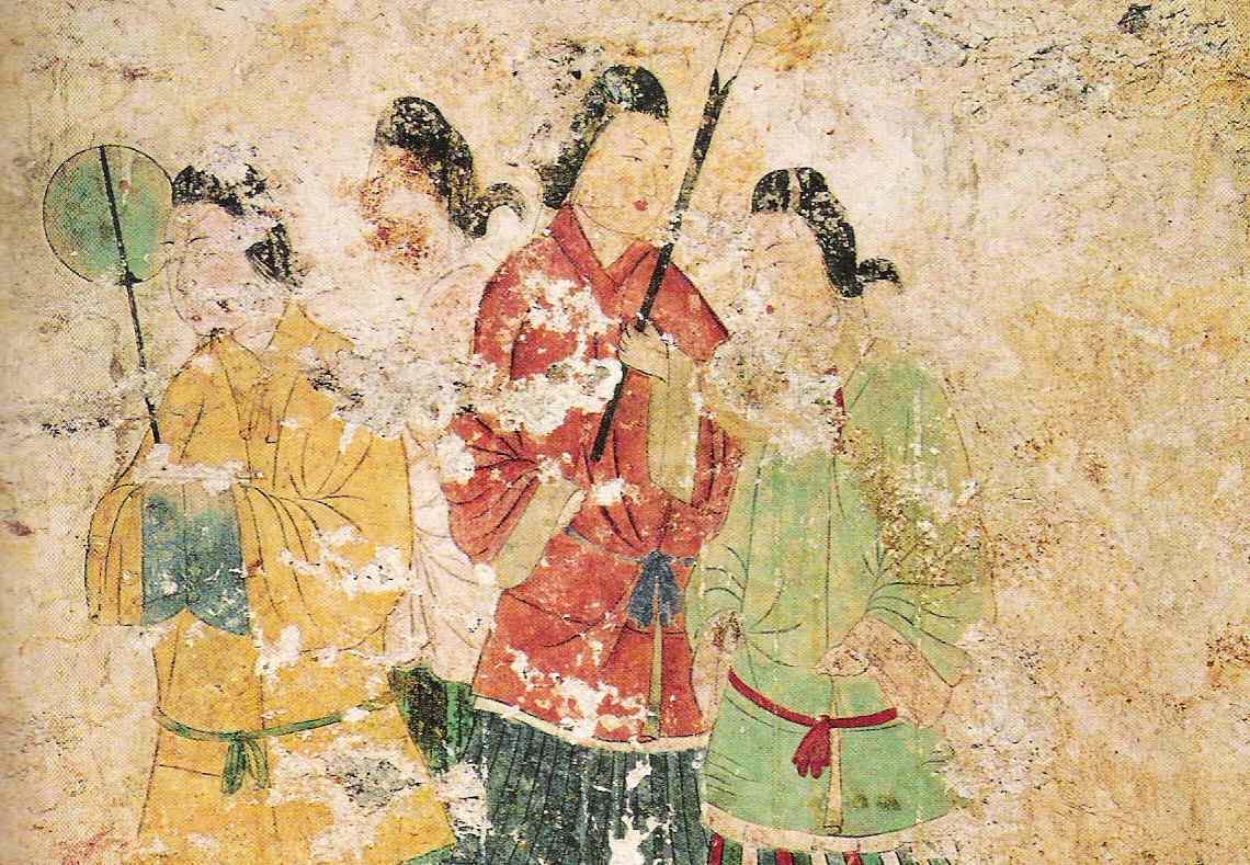 Ancient mural depicting the Kepatsu hairstyle in Japan.