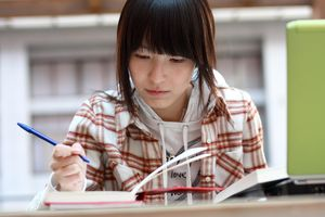 Student is doing homework
