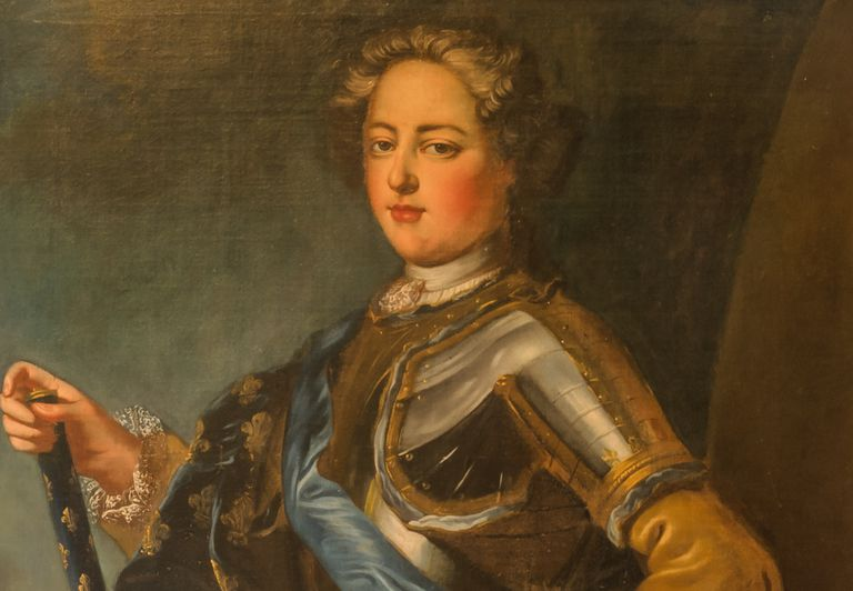 Painted portrait of King Louis XV in full regalia