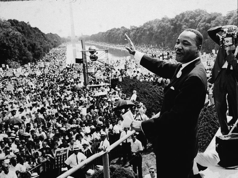 Martin Luther King Jr. before a crowd