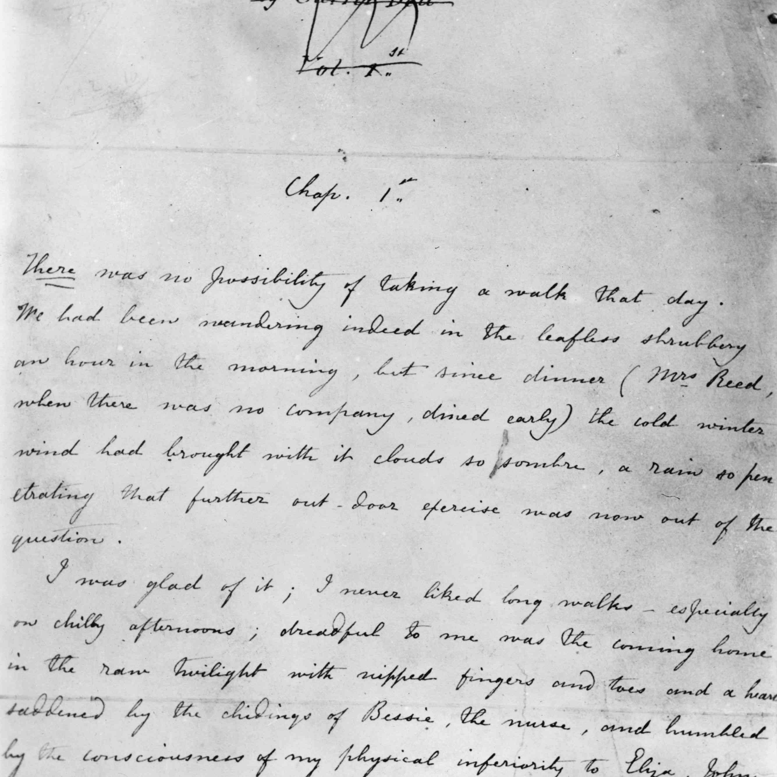 The first page of the 'Jane Eyre' manuscript