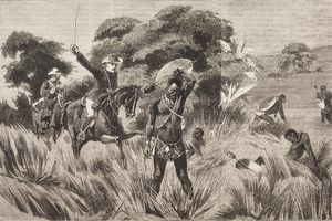Illustration of the death of Zulu warrior and the end of the Anglo-Boer War.