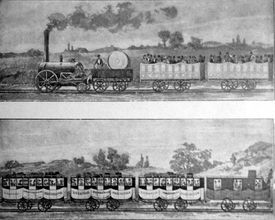 black and white drawing of first steam locomotive