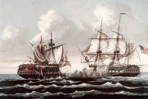 USS Constitution defeating the HMS Guerriere during the war of 1812 by Thomas Birch