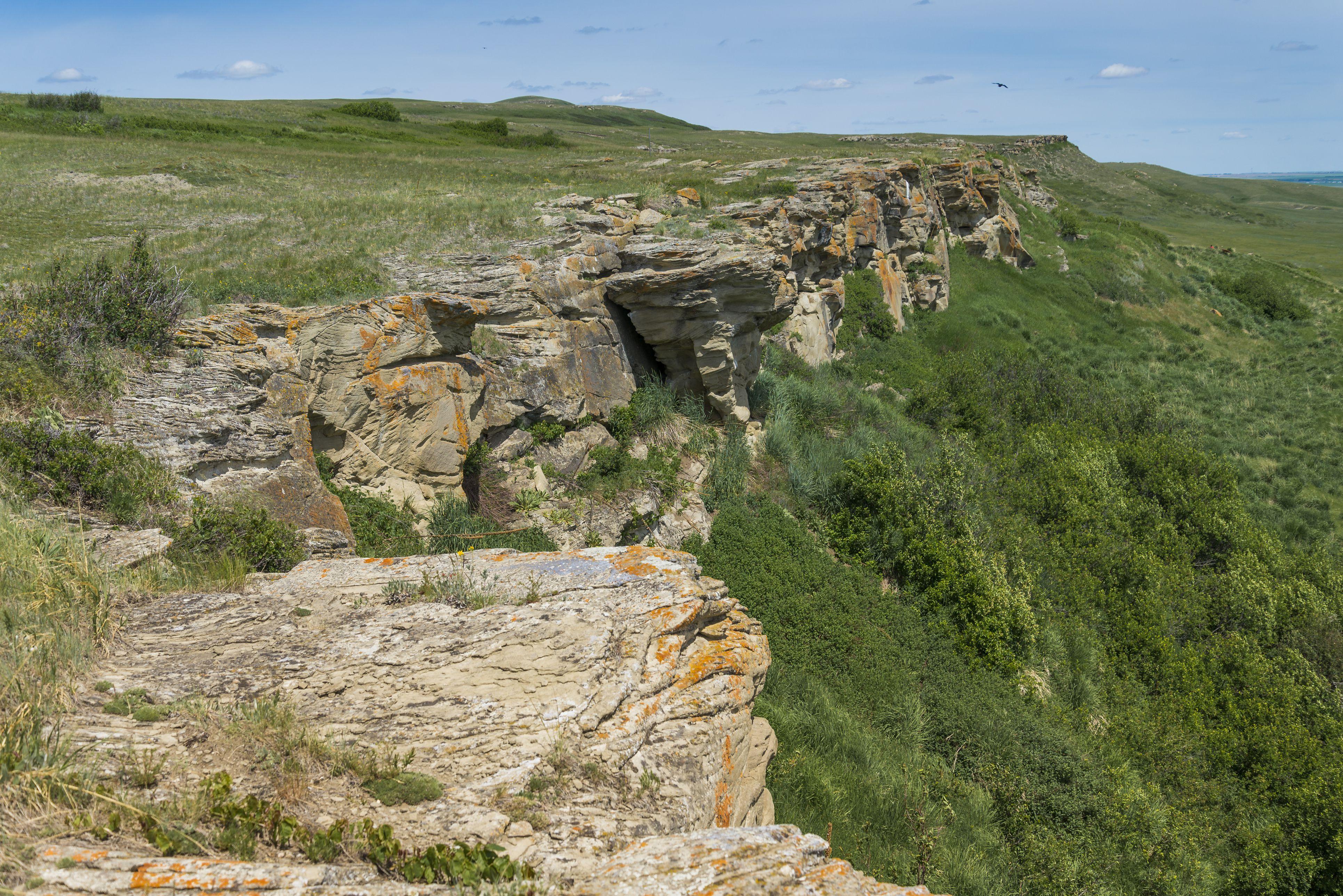 The cliff ridge at Head Smashed in Buffalo Jump near Fort Macleod, Alberta, Canada