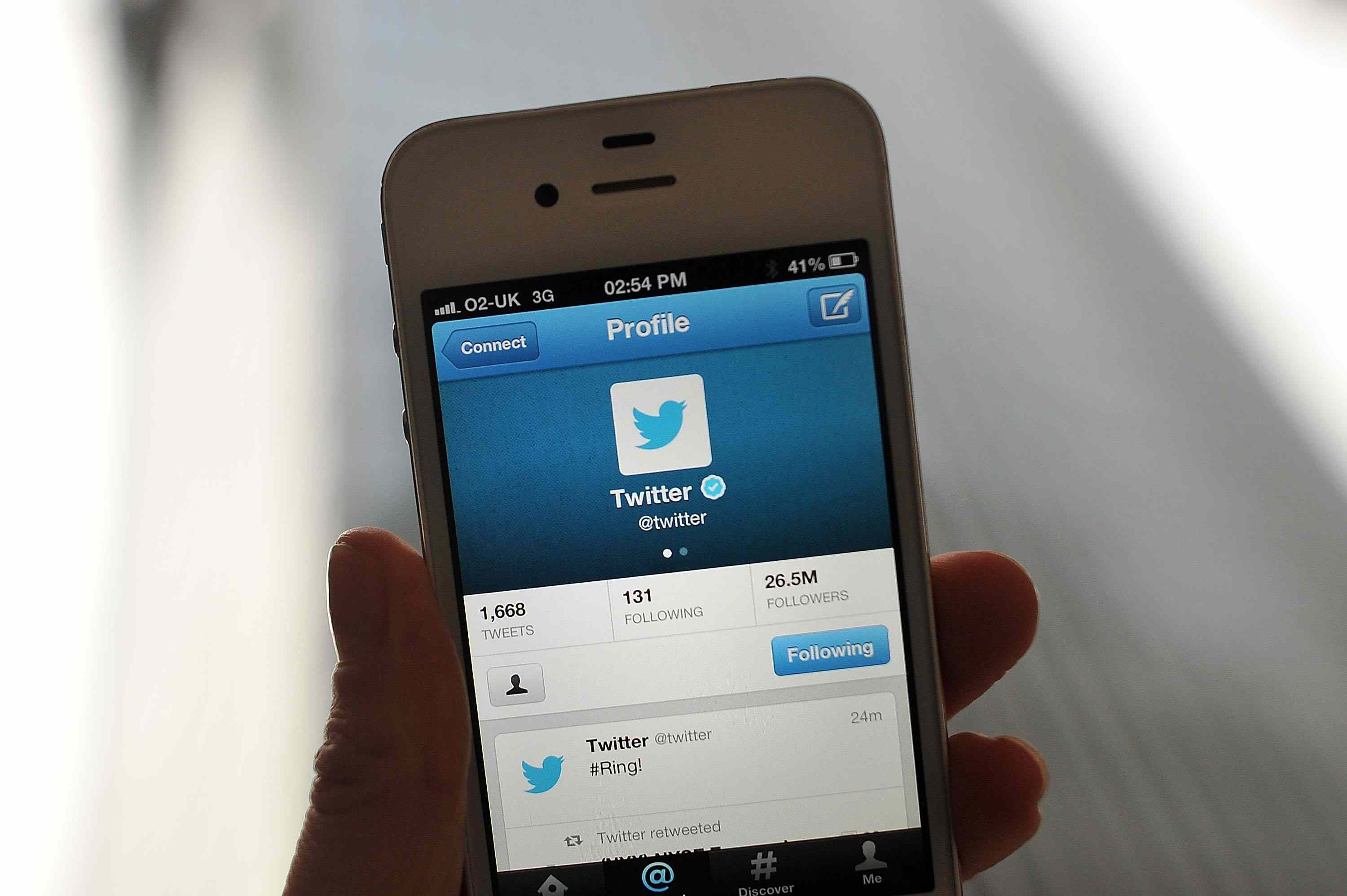 Twitter on a cell phone