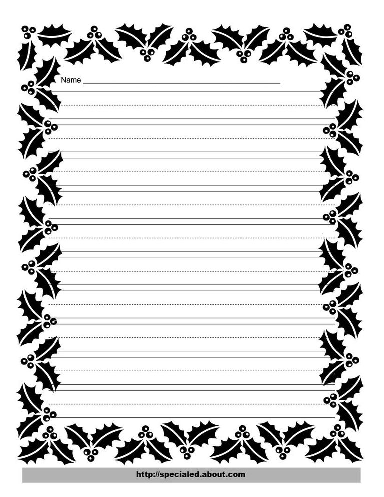Christmas writing paper with decorative borders writing paper with a holly border spiritdancerdesigns Images