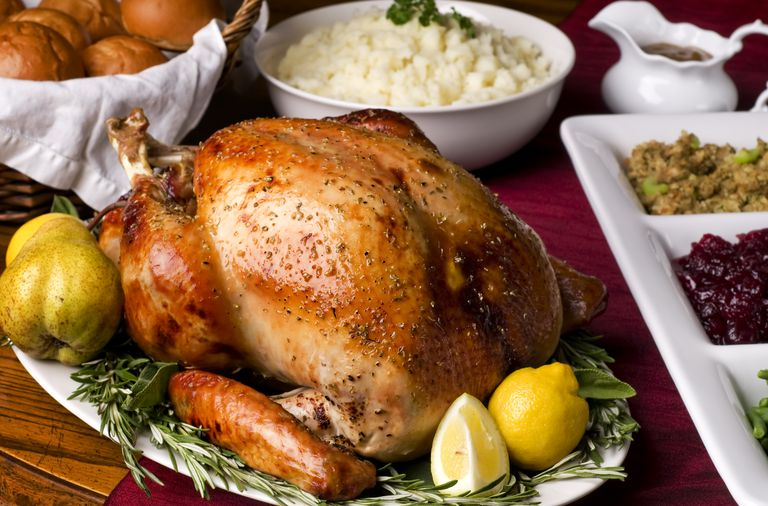 Holiday dinner with turkey