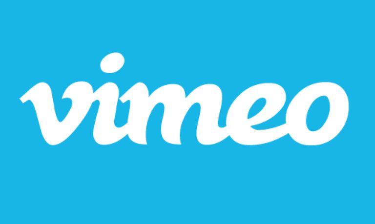 Vimeo logo against blue background.