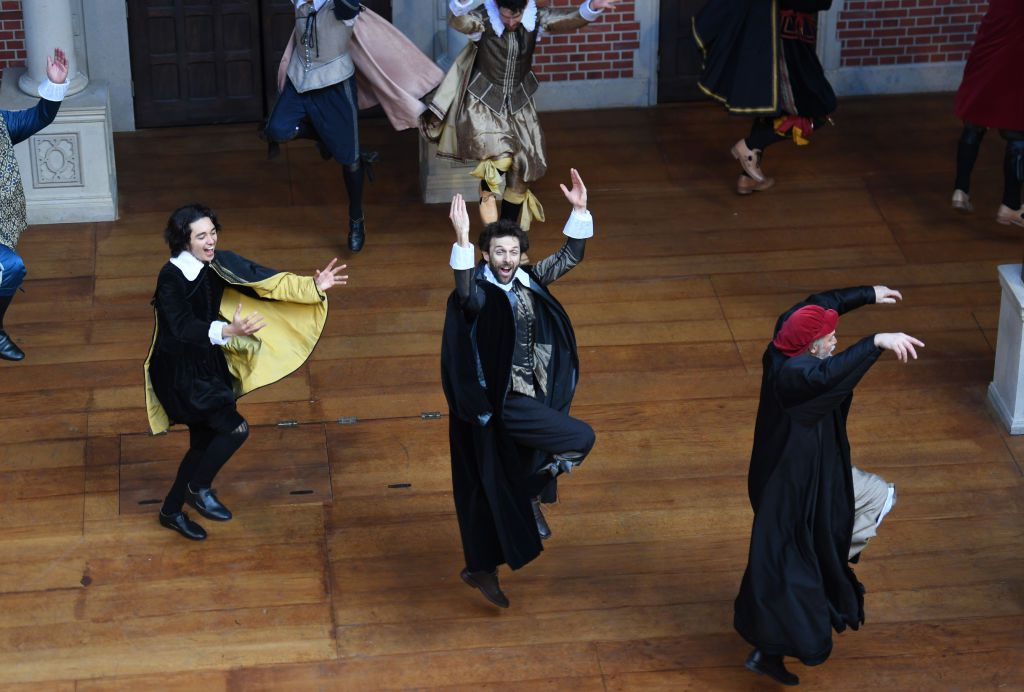 Actors perform excerpts from Shakespeare's Macbeth and The Merchant of Venice during a media preview of the Pop-up Globe on August 28, 2018 in Sydney, Australia.