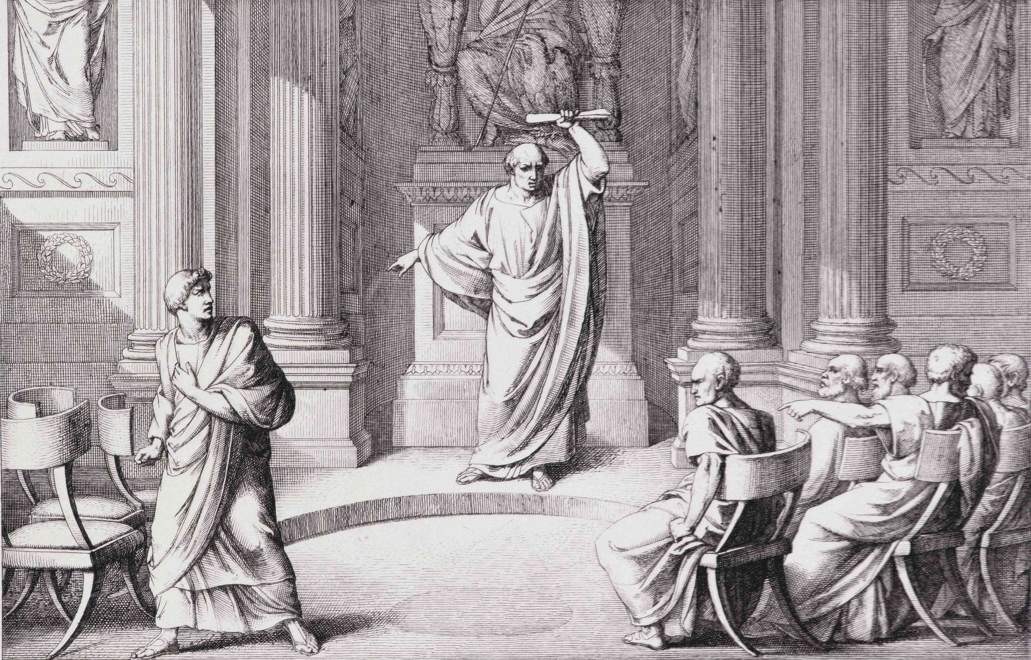 Cicero Denouncing Catiline, engraved by B. Barloccini, 1849