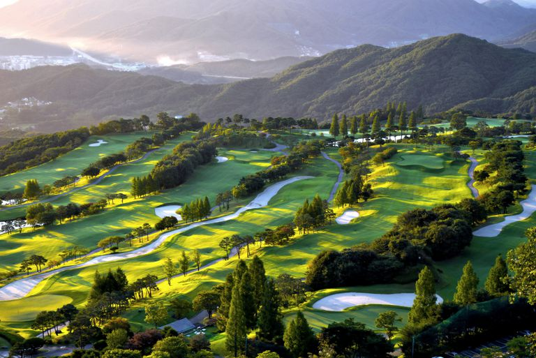 Overview of a golf course in Korea.