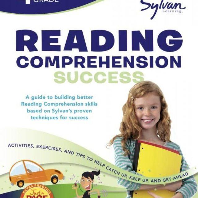 Sylvan 4th Grade Reading zeigt ein rothaariges Mädchen, das Schulunterlagen auf dem Cover hält