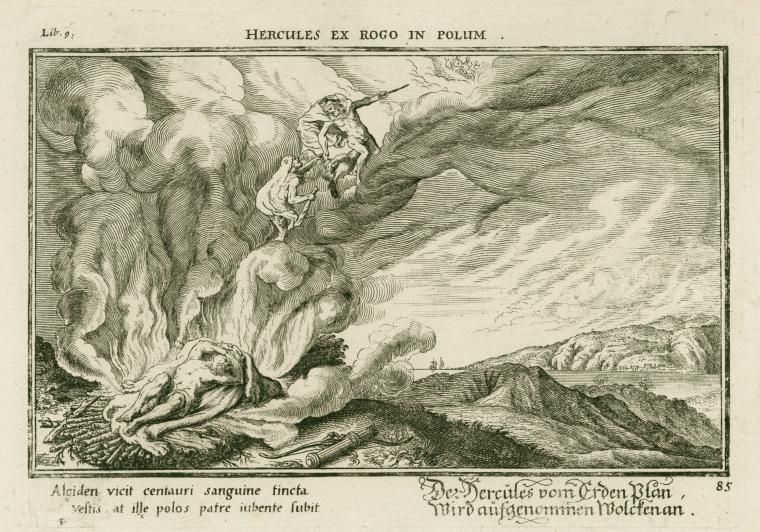 Jupiter leads Hercules to Mount Olympus to live after burning his mortal body on a funeral pyre.