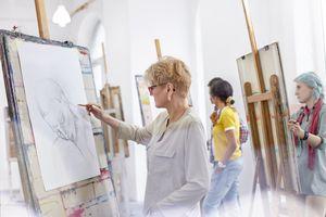 Female artists sketching in art class studio