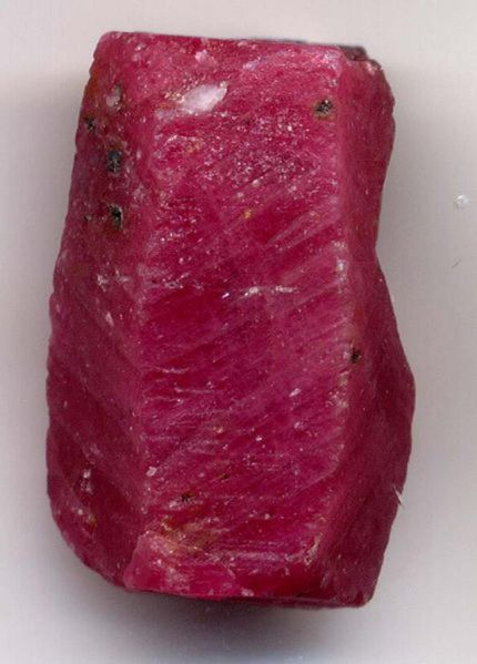 Ruby crystal before faceting.