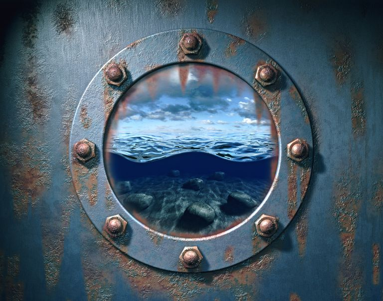 Window looking out of submarine