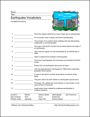 Earthquake Printables - Word Search