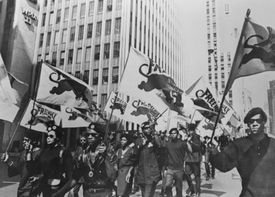 Black panturing marching with flags during Free Huey protest.