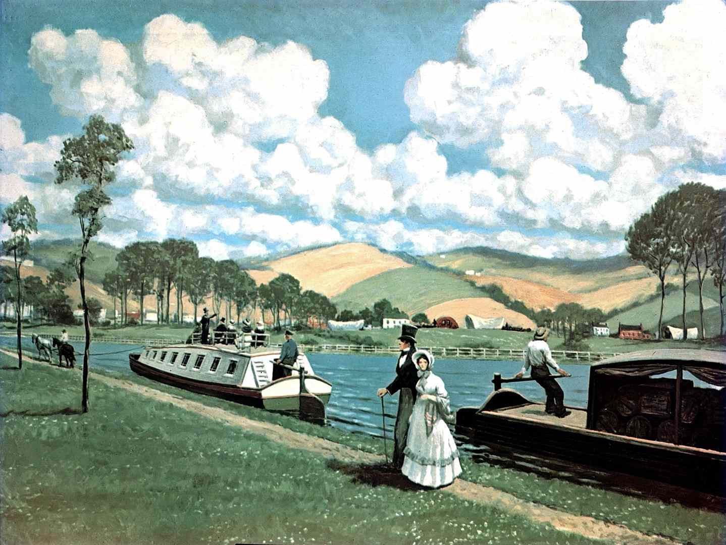 Color painting of the Eerie Canal in 1825 with travelers on boats and covered wagons in the distance.