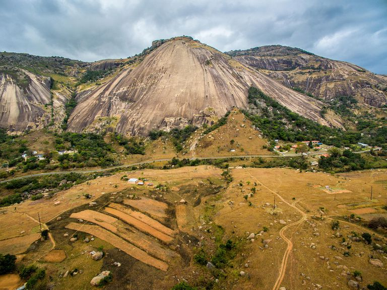 Mountain range and valley of Sibebe Rock, Swaziland