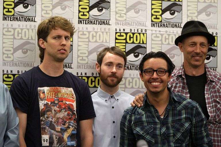 Cast of the Napoleon Dynamite film and television series at the 2011 San Diego Comic-Con International in San Diego, California, including Jon Heder, Aaron Ruell, Efren Ramirez and Jon Gries.