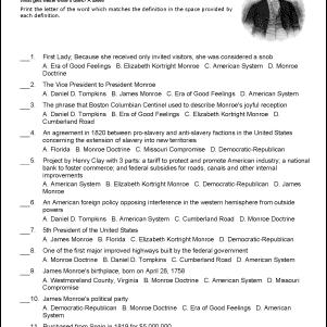 James Monroe Challenge Worksheet