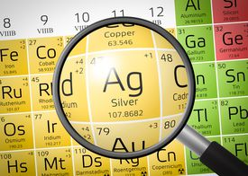 Element of Argentum or Silver with magnifying glass