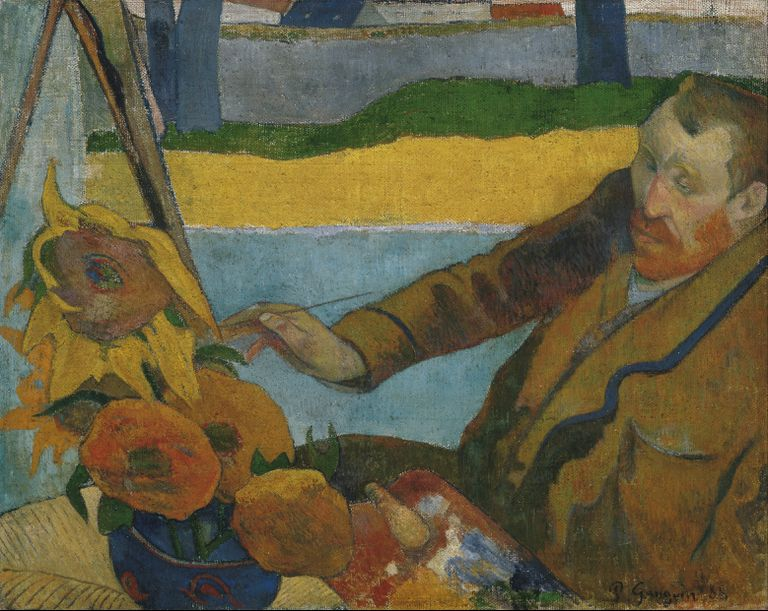 Paul Gauguin (French, 1848–1903), Vincent van Gogh Painting Sunflowers, oil on canvas, 1888, Van Gogh Museum, Amsterdam.