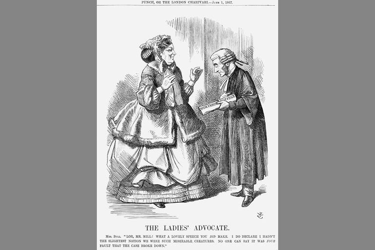 Mrs Bull and John Stuart Mill: suffrage cartoon