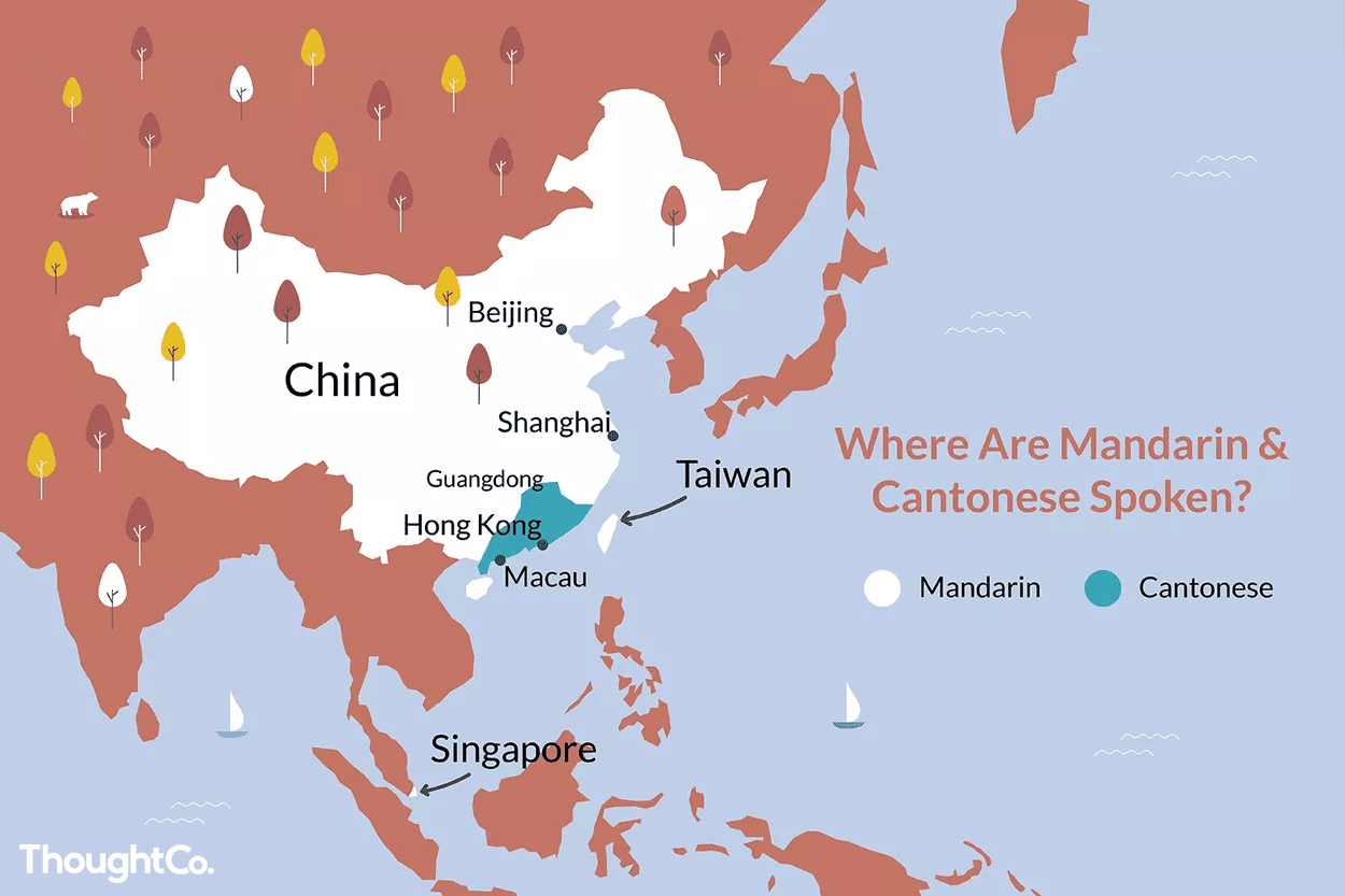 Map of China showing where Mandarin and Cantonese are spoken