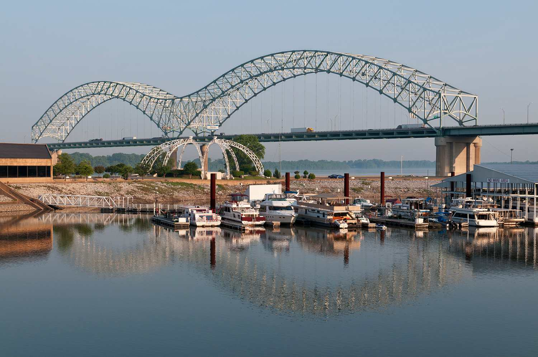 Mud Island River Park, Hernando de Soto Bridge across Mississippi River to Arkansas.