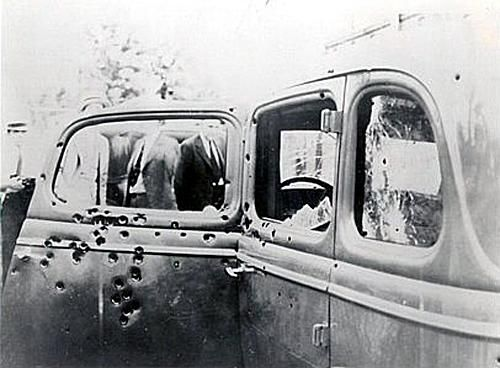 The bullet-riddled car in which Bonnie and Clyde were killed by police