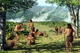 A Neanderthal group in summer