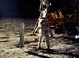 Astronaut Edwin Aldrin Jr. walking on the moon