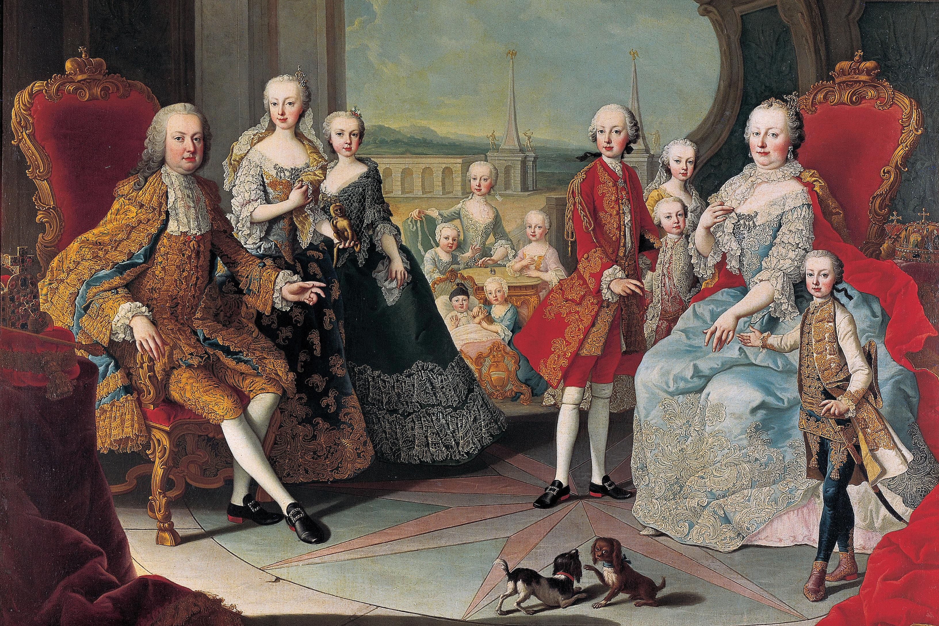 Empress Maria Theresa, with her husband Francis I and 11 of their children.