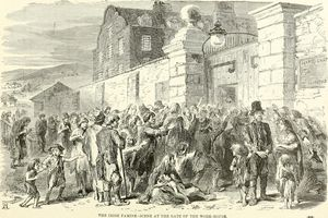 A pencil sketch of starving Irish people in the 1840s.