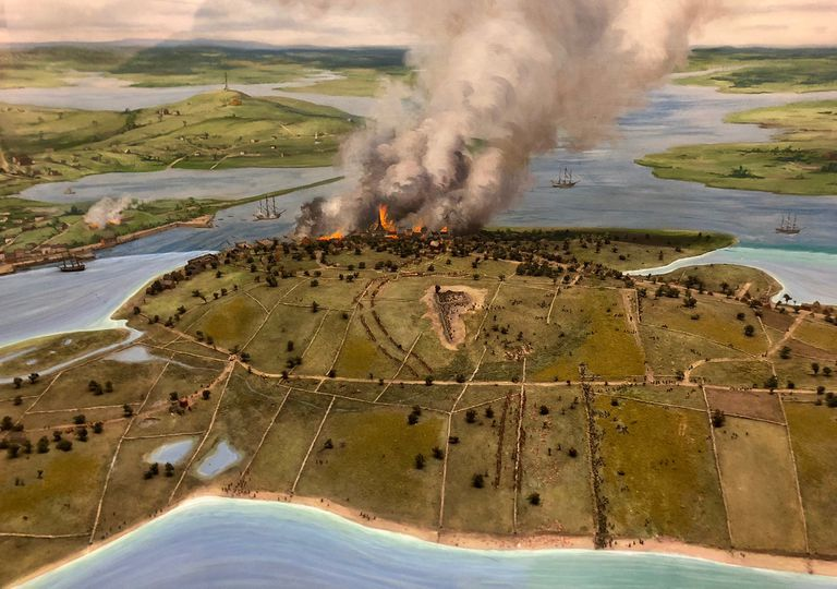 The Battle of Bunker Hill as seen from a distance, full-color diorama.