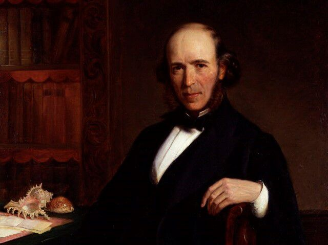 oil painting Herbert Spencer sitting at a desk