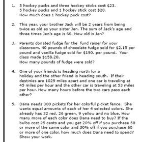 8th-Grade Math Word Problems Worksheets