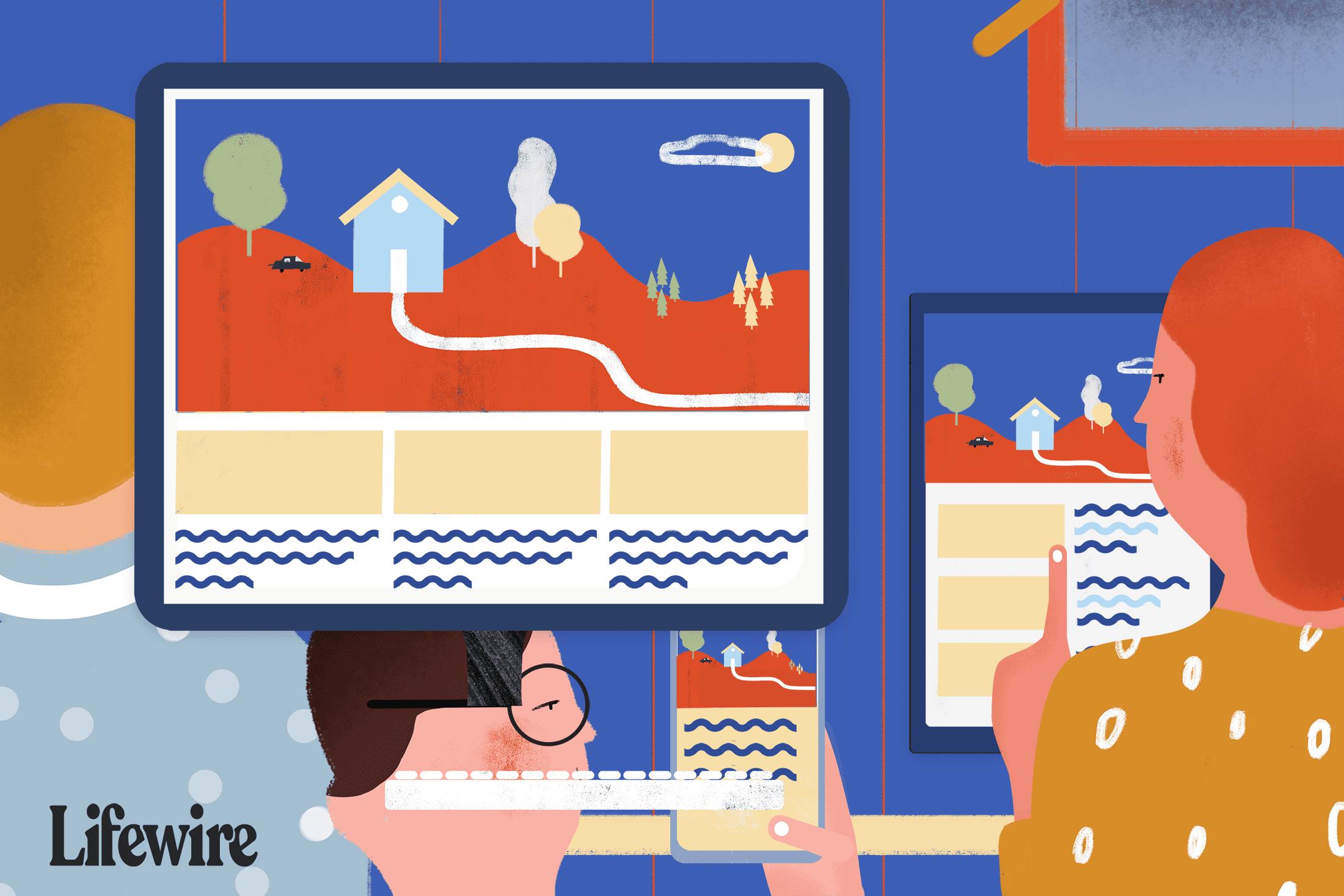 Illustration showing responsive vs. adaptive web design
