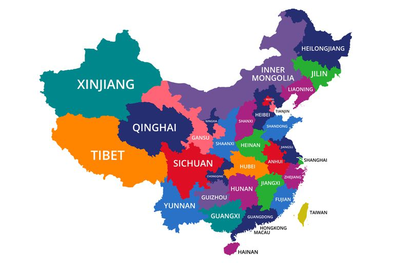 A map of China with all of its provinces labeled