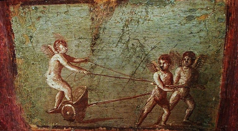 """Playing Cupids"" - wall painting (60-79 AD) from Herculaneum, House of the Deer"