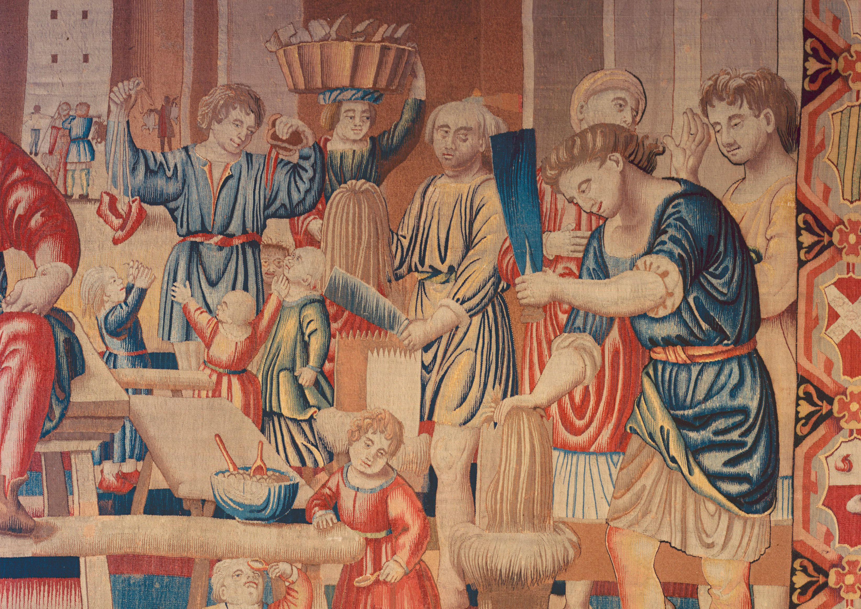 Detail of 16th Century Tapestry Showing Flax Production
