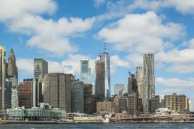 View of New York City from the East River Ferry