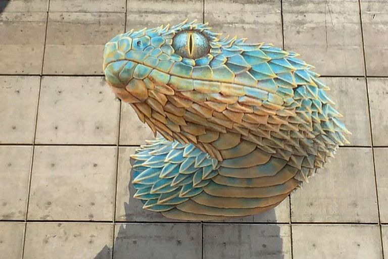 A blue serpent seems to swim through the gray wall of an urban building.